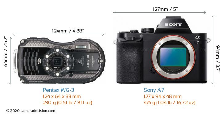Pentax WG-3 vs Sony A7 Camera Size Comparison - Front View