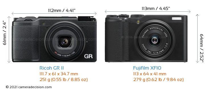 Ricoh GR II vs Fujifilm XF10 Camera Size Comparison - Front View
