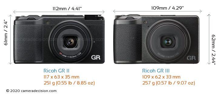 Ricoh GR II vs Ricoh GR III Camera Size Comparison - Front View
