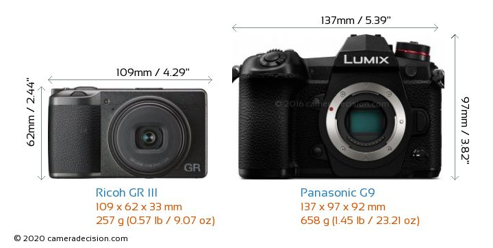 Ricoh GR III vs Panasonic G9 Camera Size Comparison - Front View