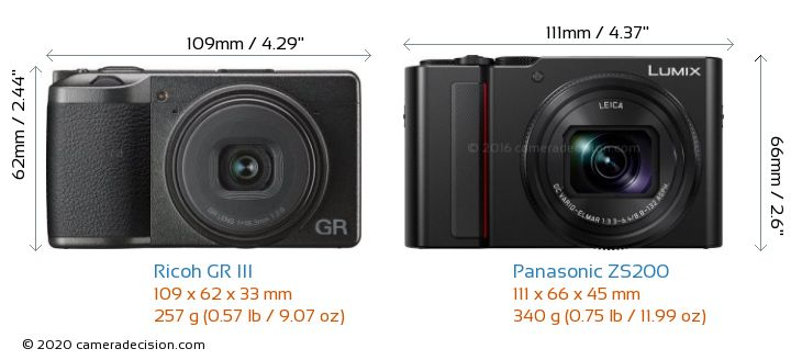 Ricoh GR III vs Panasonic ZS200 Camera Size Comparison - Front View