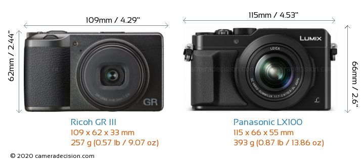 Ricoh GR III vs Panasonic LX100 Camera Size Comparison - Front View