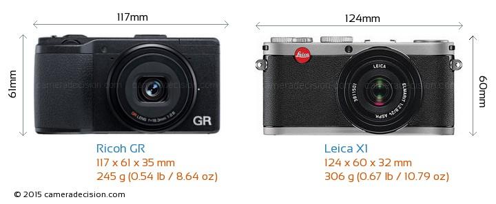 Ricoh GR vs Leica X1 Camera Size Comparison - Front View