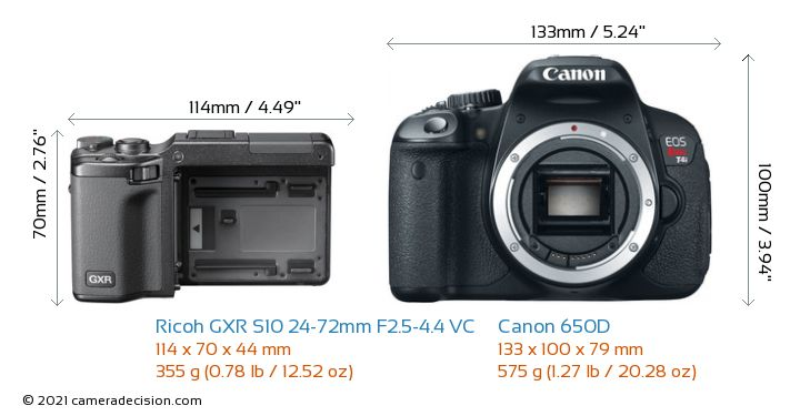 Ricoh GXR S10 24-72mm F2.5-4.4 VC vs Canon 650D Camera Size Comparison - Front View