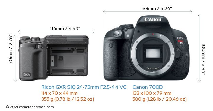 Ricoh GXR S10 24-72mm F2.5-4.4 VC vs Canon 700D Camera Size Comparison - Front View