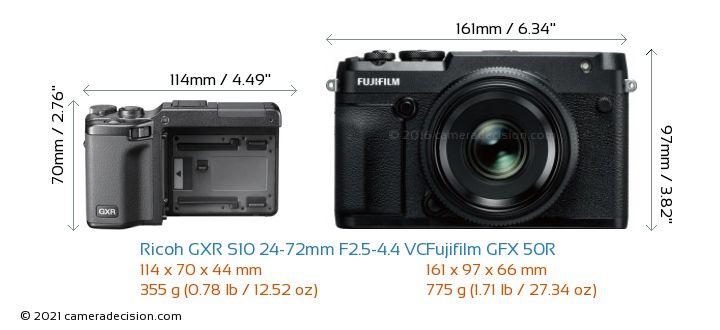 Ricoh GXR S10 24-72mm F2.5-4.4 VC vs Fujifilm GFX 50R Camera Size Comparison - Front View