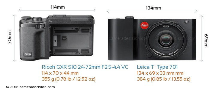 Ricoh GXR S10 24-72mm F2.5-4.4 VC vs Leica T  Type 701 Camera Size Comparison - Front View
