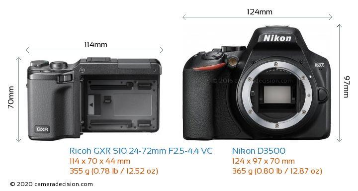Ricoh GXR S10 24-72mm F2.5-4.4 VC vs Nikon D3500 Camera Size Comparison - Front View