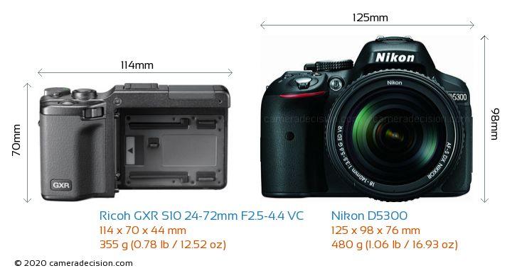 Ricoh GXR S10 24-72mm F2.5-4.4 VC vs Nikon D5300 Camera Size Comparison - Front View