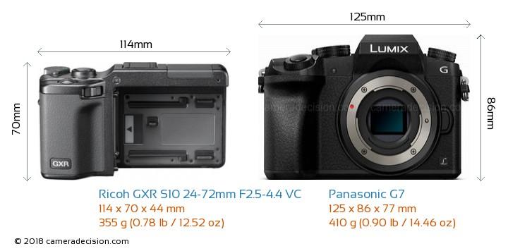 Ricoh GXR S10 24-72mm F2.5-4.4 VC vs Panasonic G7 Camera Size Comparison - Front View