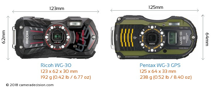 Ricoh WG-30 vs Pentax WG-3 GPS Camera Size Comparison - Front View