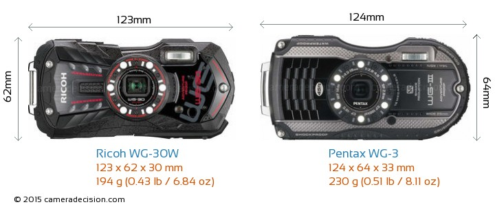 Ricoh WG-30W vs Pentax WG-3 Camera Size Comparison - Front View