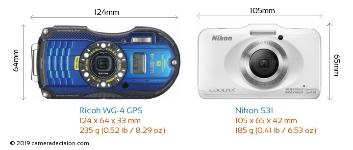 Ricoh WG-4 GPS vs Nikon S31 Camera Size Comparison - Front View