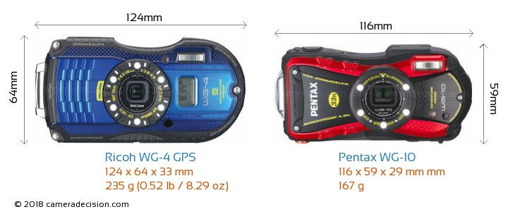 Ricoh WG-4 GPS vs Pentax WG-10 Camera Size Comparison - Front View