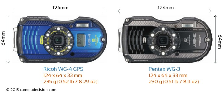 Ricoh WG-4 GPS vs Pentax WG-3 Camera Size Comparison - Front View
