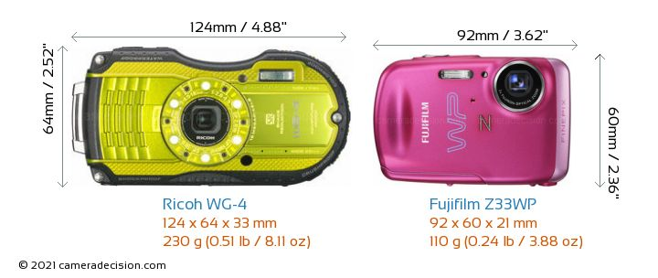 Ricoh WG-4 vs Fujifilm Z33WP Camera Size Comparison - Front View