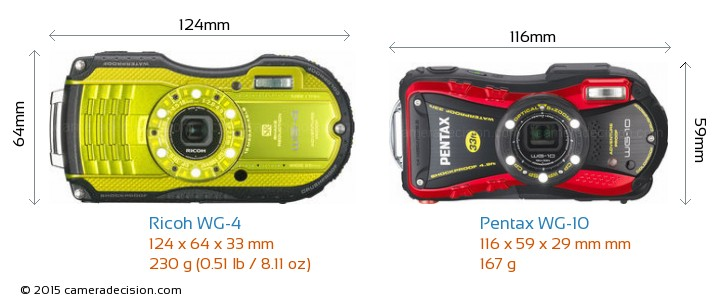 Ricoh WG-4 vs Pentax WG-10 Camera Size Comparison - Front View