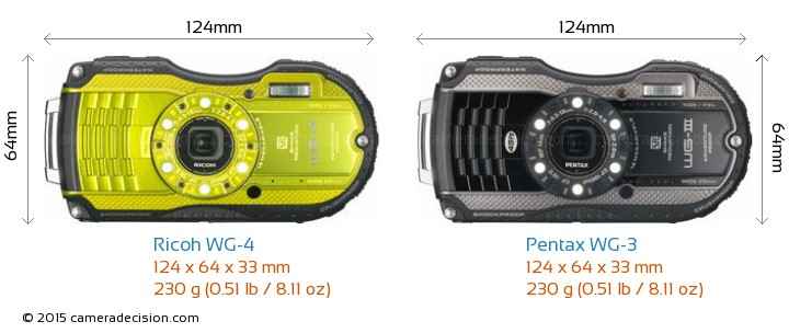 Ricoh WG-4 vs Pentax WG-3 Camera Size Comparison - Front View