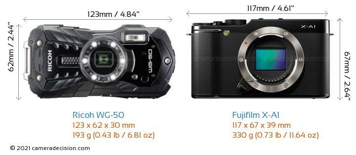 Ricoh WG-50 vs Fujifilm X-A1 Camera Size Comparison - Front View