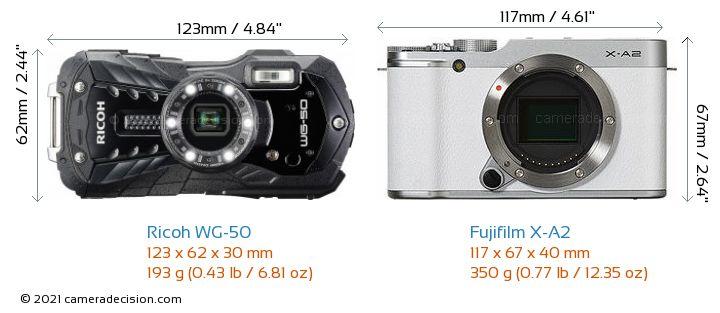 Ricoh WG-50 vs Fujifilm X-A2 Camera Size Comparison - Front View