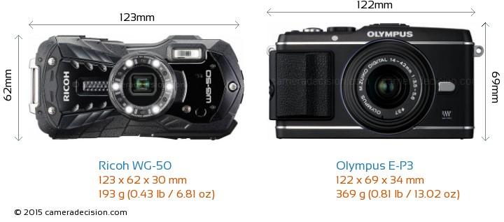 Ricoh WG-50 vs Olympus E-P3 Camera Size Comparison - Front View