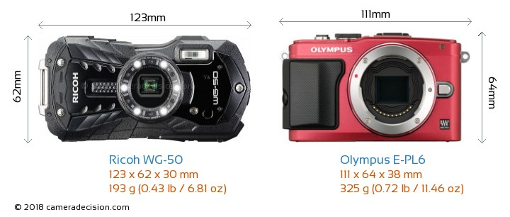 Ricoh WG-50 vs Olympus E-PL6 Camera Size Comparison - Front View