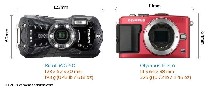 Ricoh WG-50 vs Olympus E-PL6 Camera Size Comparison - Front View