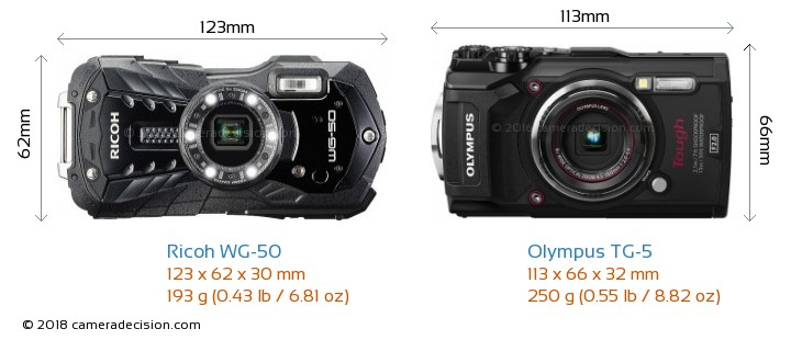 Ricoh WG-50 vs Olympus TG-5 Camera Size Comparison - Front View