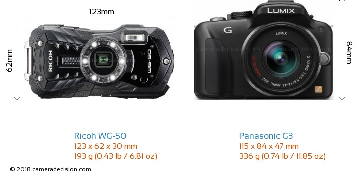 Ricoh WG-50 vs Panasonic G3 Camera Size Comparison - Front View