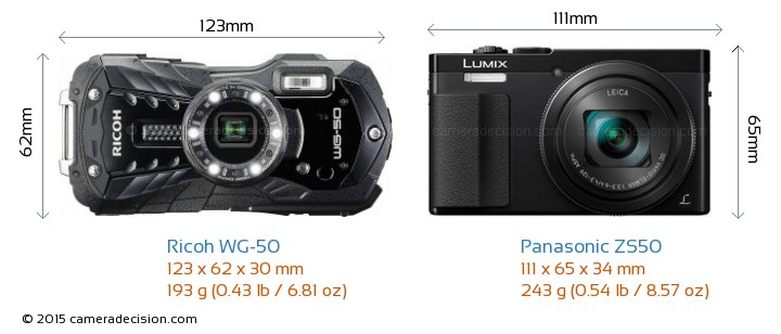 Ricoh WG-50 vs Panasonic ZS50 Camera Size Comparison - Front View