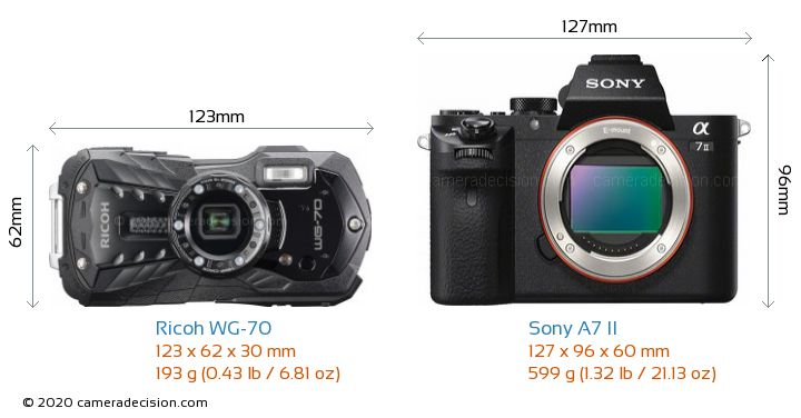 Ricoh WG-70 vs Sony A7 II Camera Size Comparison - Front View