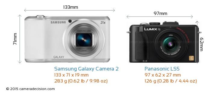 Samsung Galaxy Camera 2 vs Panasonic LS5 Camera Size Comparison - Front View