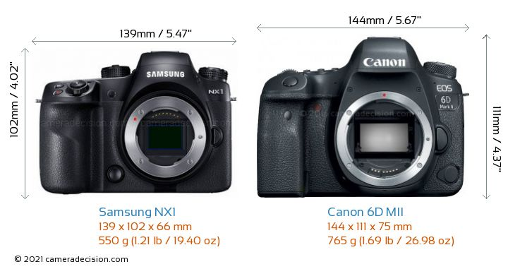 Samsung NX1 vs Canon 6D MII Camera Size Comparison - Front View