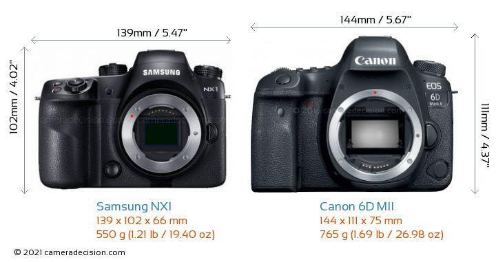 Samsung NX1 vs Canon 6D MII Camera Size Comparison - Front View