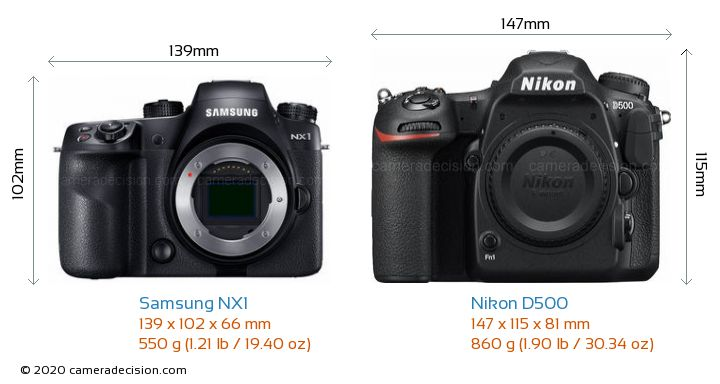 Samsung NX1 vs Nikon D500 Camera Size Comparison - Front View