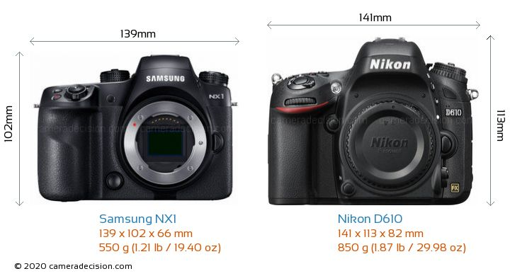 Samsung NX1 vs Nikon D610 Camera Size Comparison - Front View