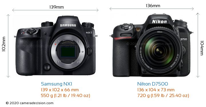Samsung NX1 vs Nikon D7500 Camera Size Comparison - Front View