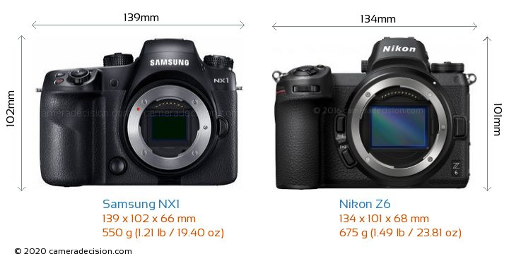 Samsung NX1 vs Nikon Z6 Camera Size Comparison - Front View