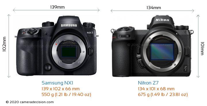 Samsung NX1 vs Nikon Z7 Camera Size Comparison - Front View