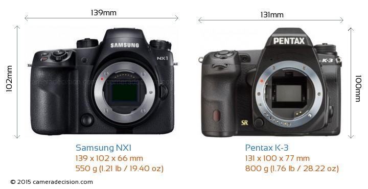 Samsung NX1 vs Pentax K-3 Camera Size Comparison - Front View