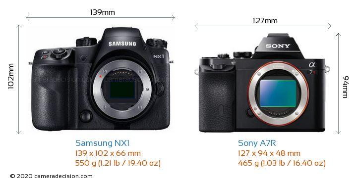Samsung NX1 vs Sony A7R Camera Size Comparison - Front View