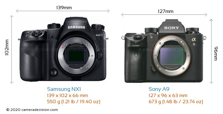 Samsung NX1 vs Sony A9 Camera Size Comparison - Front View