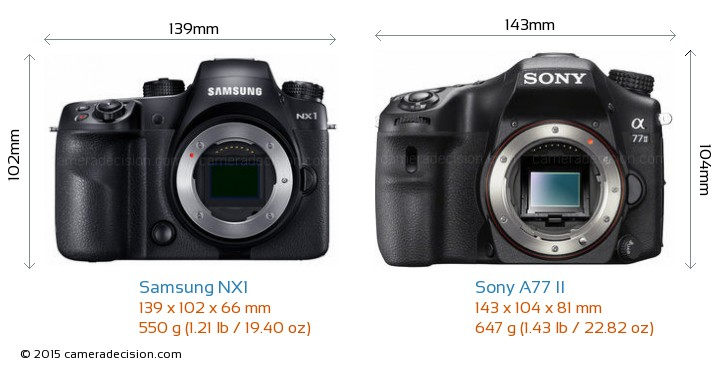 Samsung NX1 vs Sony A77 II Camera Size Comparison - Front View