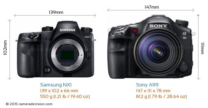 Samsung NX1 vs Sony A99 Camera Size Comparison - Front View