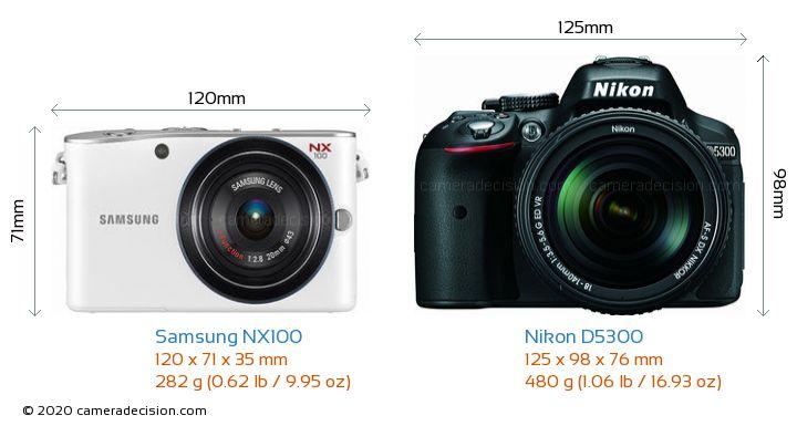 Samsung NX100 vs Nikon D5300 Camera Size Comparison - Front View