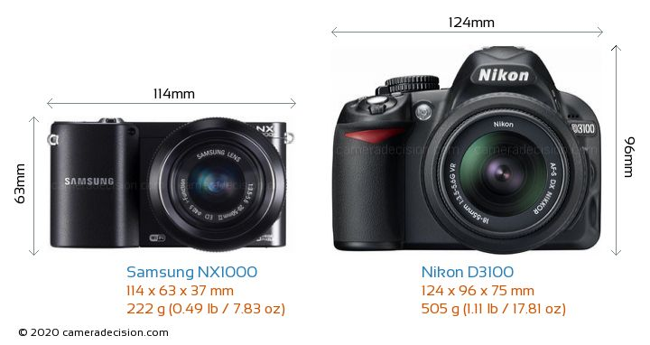 Samsung NX1000 vs Nikon D3100 Size Comparison