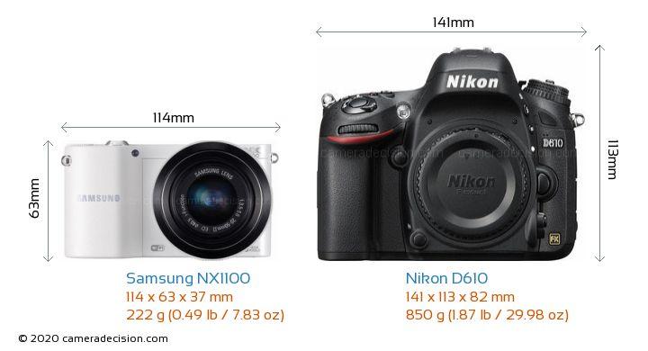 Samsung NX1100 vs Nikon D610 Camera Size Comparison - Front View