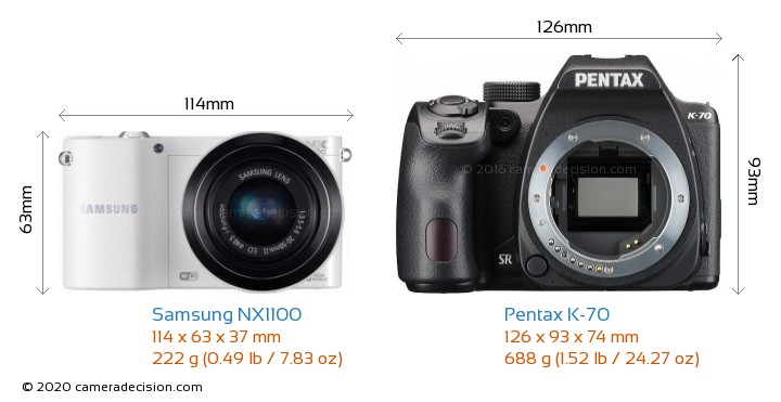 Samsung NX1100 vs Pentax K-70 Camera Size Comparison - Front View