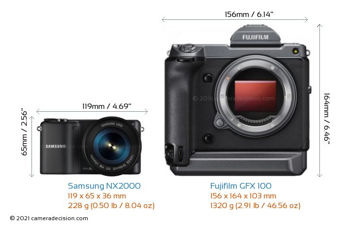 Samsung NX2000 vs Fujifilm GFX 100 Camera Size Comparison - Front View