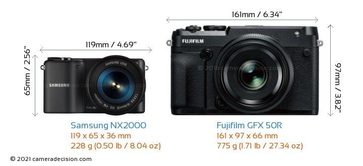 Samsung NX2000 vs Fujifilm GFX 50R Camera Size Comparison - Front View
